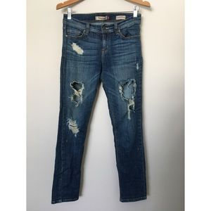 Low Rise Relaxed Skinny Distressed Jeans